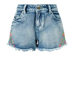 Teens Blue Embroidered Trim Denim Shorts  | New Look