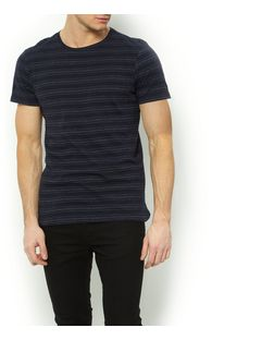 Navy Stripe Jacquard T-Shirt  | New Look