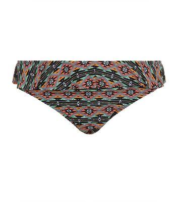 Plus Size Green Tribal Print Flounce Bikini Bottoms