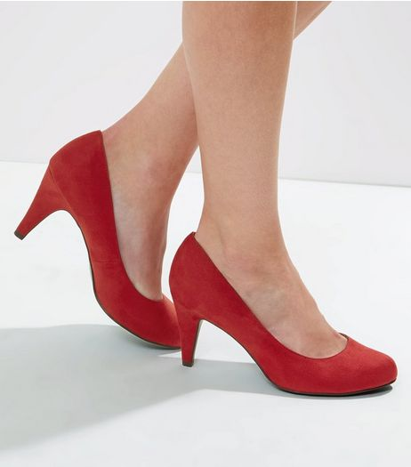 Wide Fit Red Court Shoes | New Look