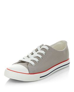 Grey Lace Up Stripe Sole Plimsolls | New Look