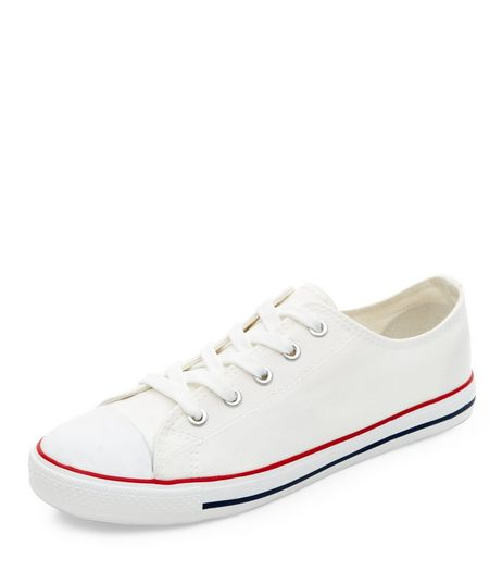 White Lace Up Stripe Sole Plimsolls  | New Look