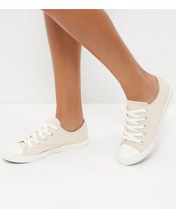 Cream Lace Up Stripe Sole Plimsolls  | New Look