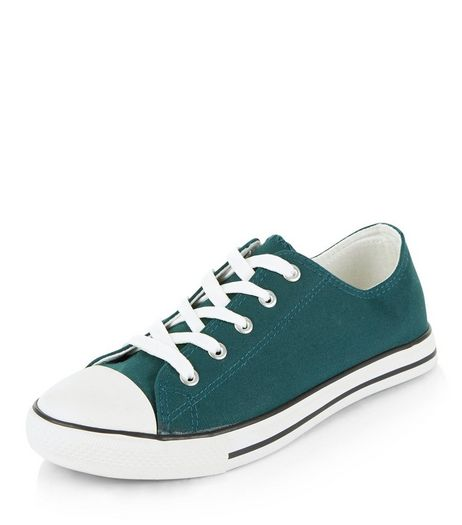 Dark Green Lace Up Stripe Sole Plimsolls  | New Look