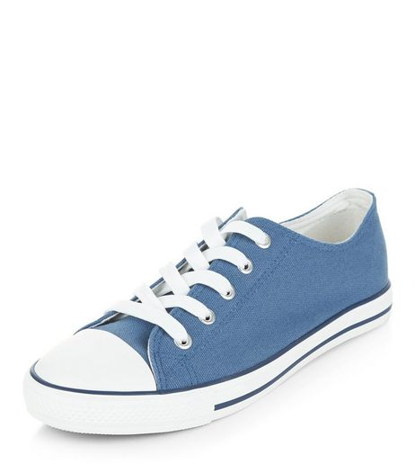 Blue Lace Up Stripe Sole Plimsolls | New Look