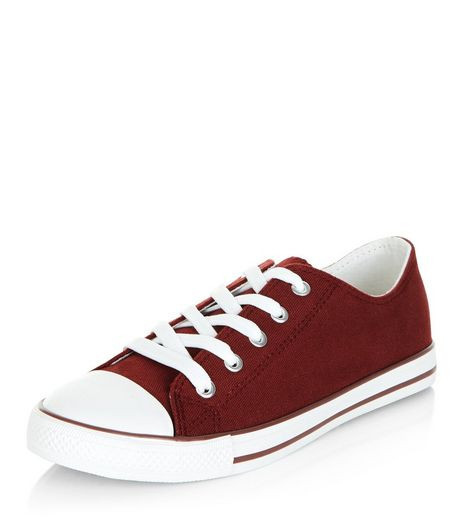 Dark Red Lace Up Stripe Sole Plimsolls | New Look