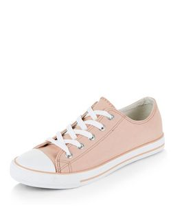 Mid Pink Lace Up Stripe Sole Plimsolls  | New Look
