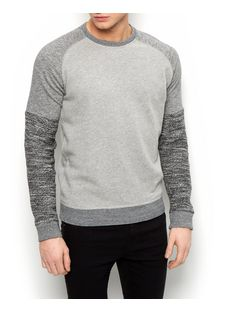 Grey Colour Block Sweater  | New Look