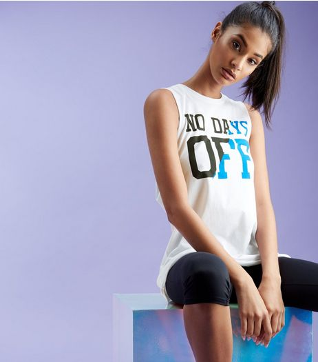 White No Days Off Print Tank Top  | New Look