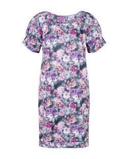 Meme Purple Floral Print Tunic Dress  | New Look