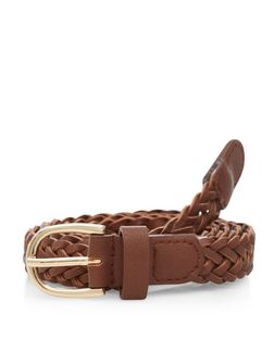Plus Size Tan Plaited Skinny Belt  | New Look