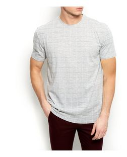 White Grid Check T-Shirt  | New Look