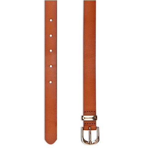 Tan Premium Leather Skinny Belt  | New Look