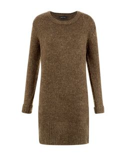 Khaki Knitted Tunic Dress  | New Look
