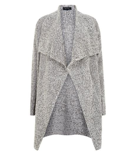 Grey Ribbed Waterfall Cardigan  | New Look