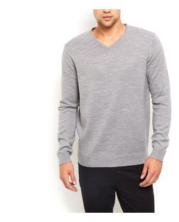 Grey V Neck Jumper  | New Look