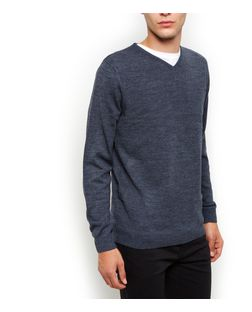 Blue V Neck Jumper | New Look