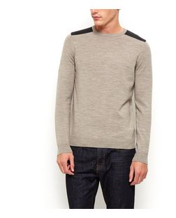Stone Shoulder Patch Jumper  | New Look