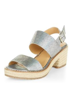 Teens Silver Double Strap Espadrille Heel Sandals  | New Look