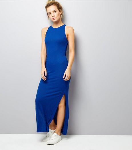 Petite Blue Racer Back Maxi Dress | New Look