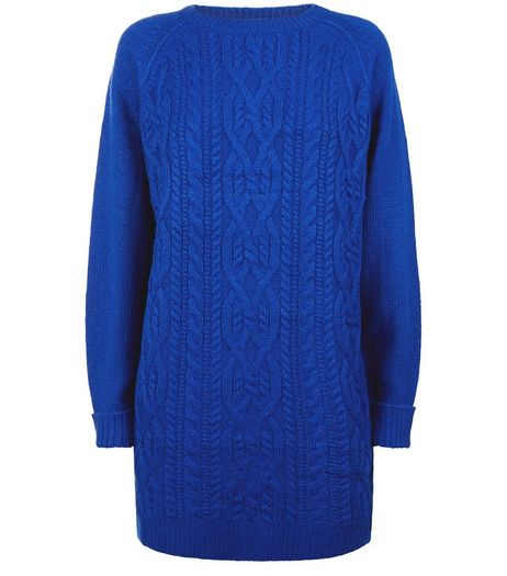 Blue Cable Knit Long Sleeve Dress | New Look