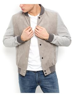 Stone Contrast Bomber Jacket  | New Look