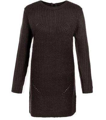 Black Ribbed Slouch Tunic Jumper