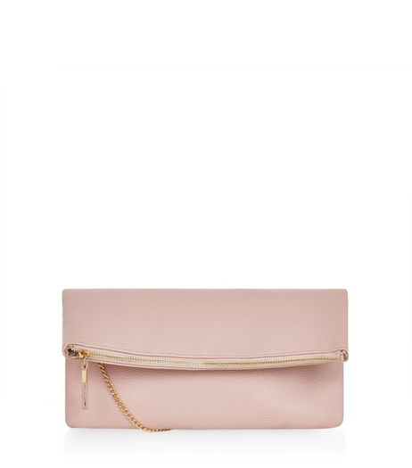 Pink Fold Over Clutch | New Look