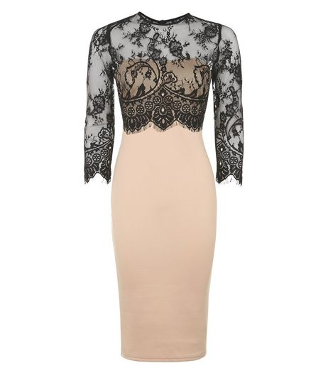 AX Paris Stone Contrast Lace Overlay Midi Dress | New Look