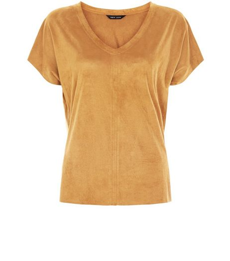 Tan Suedette V Neck T-Shirt   | New Look