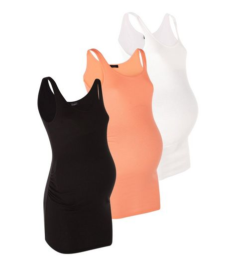 Maternity 3 Pack Black Neon Orange and White Ribbed Vests  | New Look