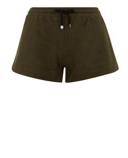 Petite Khaki Suedette Laser Cut Out Runner Shorts  | New Look
