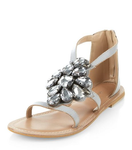 Grey Leather Jewel Front Sandals  | New Look