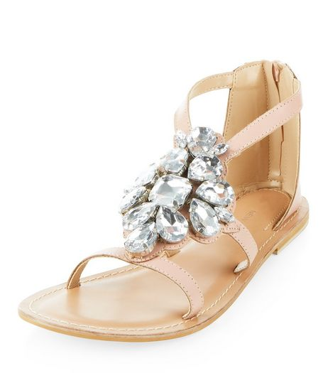 Pink Leather Jewel Front Sandals  | New Look