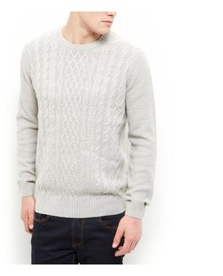 Stone Cable Knit Crew Neck Jumper  | New Look