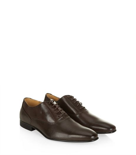 Dark Brown Lace Up Oxford Shoes | New Look
