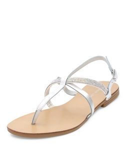 White Leather Embellished Cross Strap Sandals  | New Look