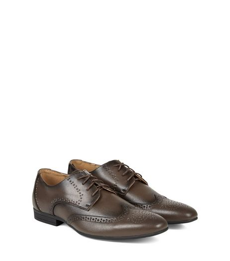 Dark Brown Lace Up Charlie Brogues  | New Look