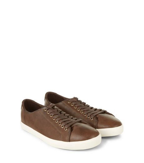 Dark Brown Lace Up Trainers | New Look