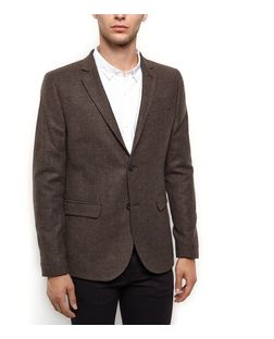 Brown Textured Blazer  | New Look