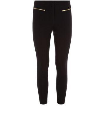 Petite Black Zip Front Bengaline Trousers