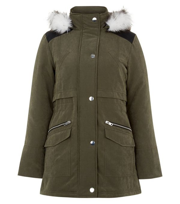 Teens Khaki Faux Fur Trim Hooded Parka