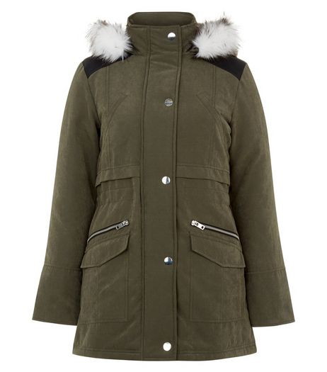 Teens Khaki Faux Fur Trim Hooded Parka  | New Look