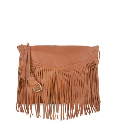 Tan Leather Fringed Trim Across Body Bag  | New Look