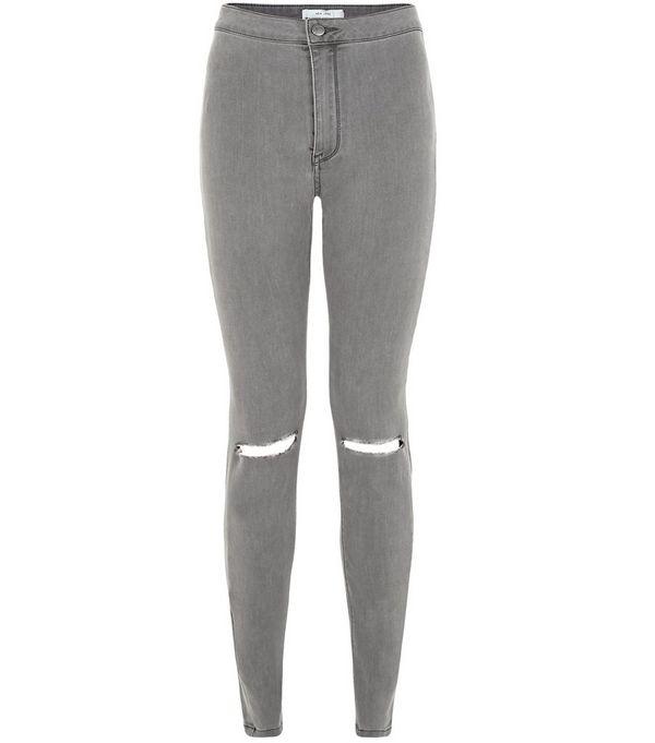 Dark Grey Ripped Knee High Waist Super Skinny Jeans