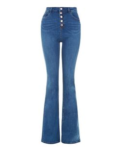 Blue Button Front Flared Jeans  | New Look