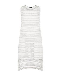 Grey Stripe Dip Hem Tank Top  | New Look