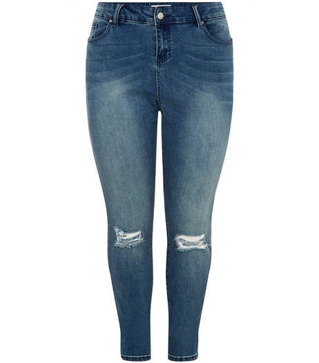 Curves Blue Ripped Knee Skinny Jeans  | New Look