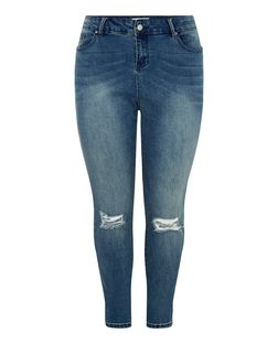 Plus Size Blue Ripped Knee Skinny Jeans  | New Look