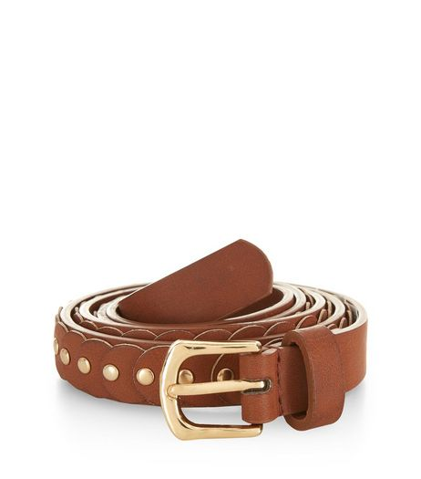 Plus Size Tan Pin Stud Belt  | New Look